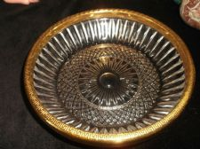 SMALL CUT LOOK GLASS SHALLOW DISH WITH GILT METAL RIM EMBOSSED GREEK KEY 6.5""